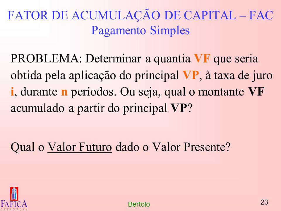 FATOR DE ACUMULAÇÃO DE CAPITAL – FAC Pagamento Simples