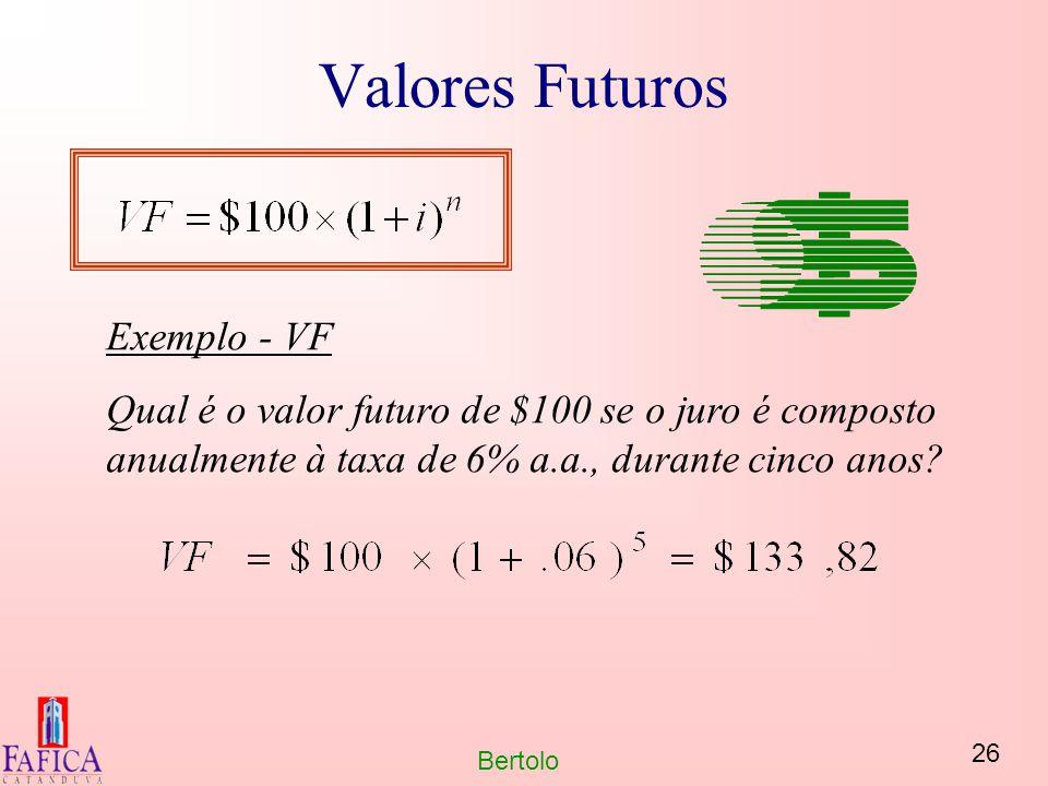 Valores Futuros Exemplo - VF