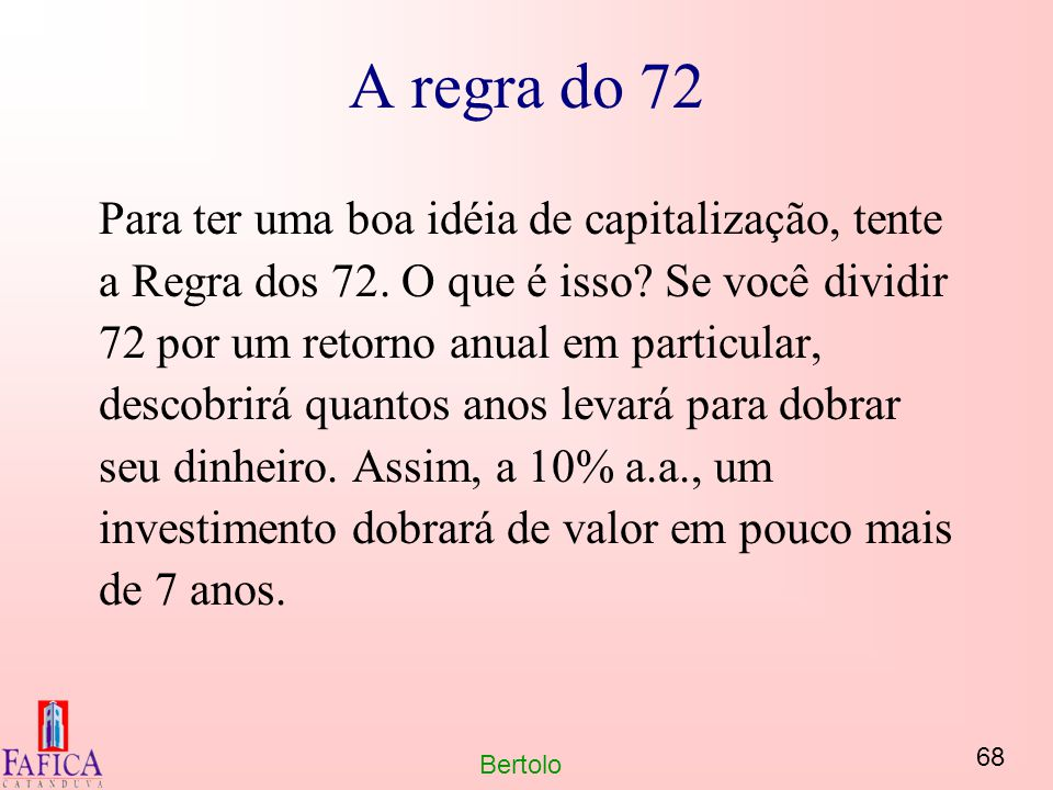 A regra do 72