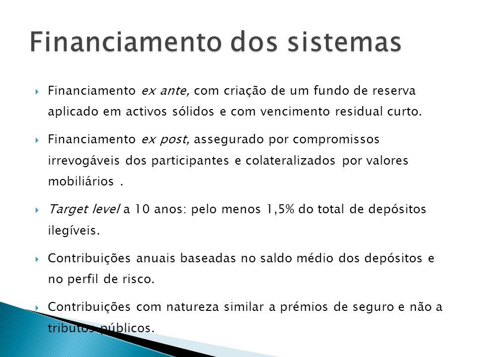 Financiamento dos sistemas