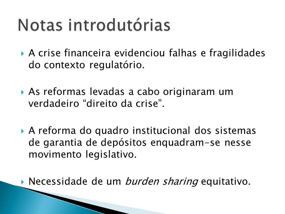 Notas introdutórias A crise financeira evidenciou falhas e fragilidades do contexto regulatório.