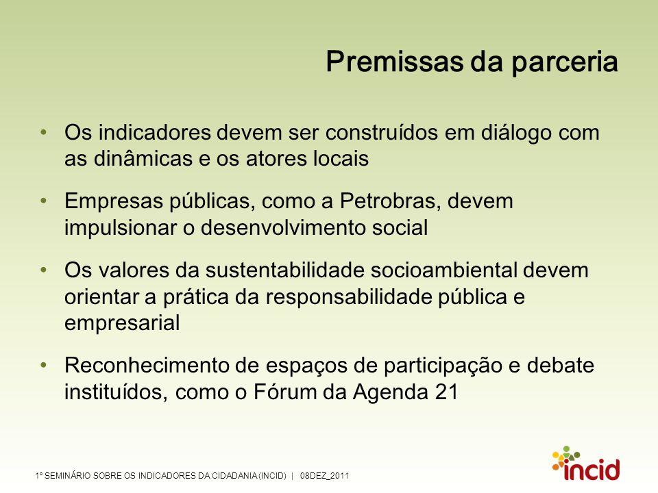 Premissas da parceria Os indicadores devem ser construídos em diálogo com as dinâmicas e os atores locais.