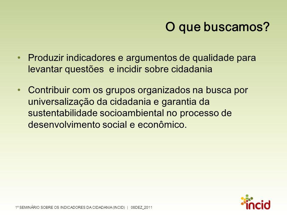O que buscamos Produzir indicadores e argumentos de qualidade para levantar questões e incidir sobre cidadania.