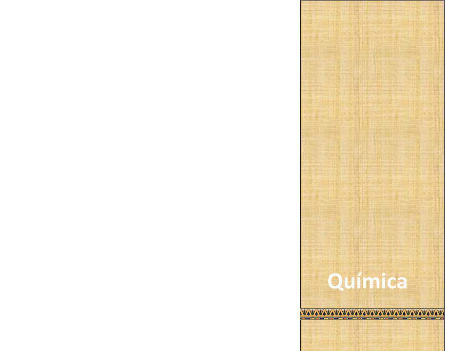 Na química, a manipulação de substâncias químicas (arsênio, cobre, petróleo, alabrastro, sal, sílex moído) surgiu no Egito e deu origem a fabricação de diversos remédios e composições simples. A palavra química provém do egípcio kemi, que significa terra preta.