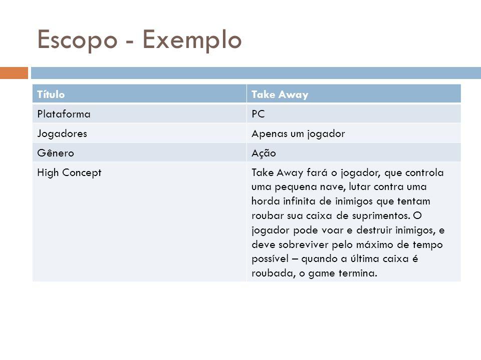 Escopo - Exemplo Título Take Away Plataforma PC Jogadores