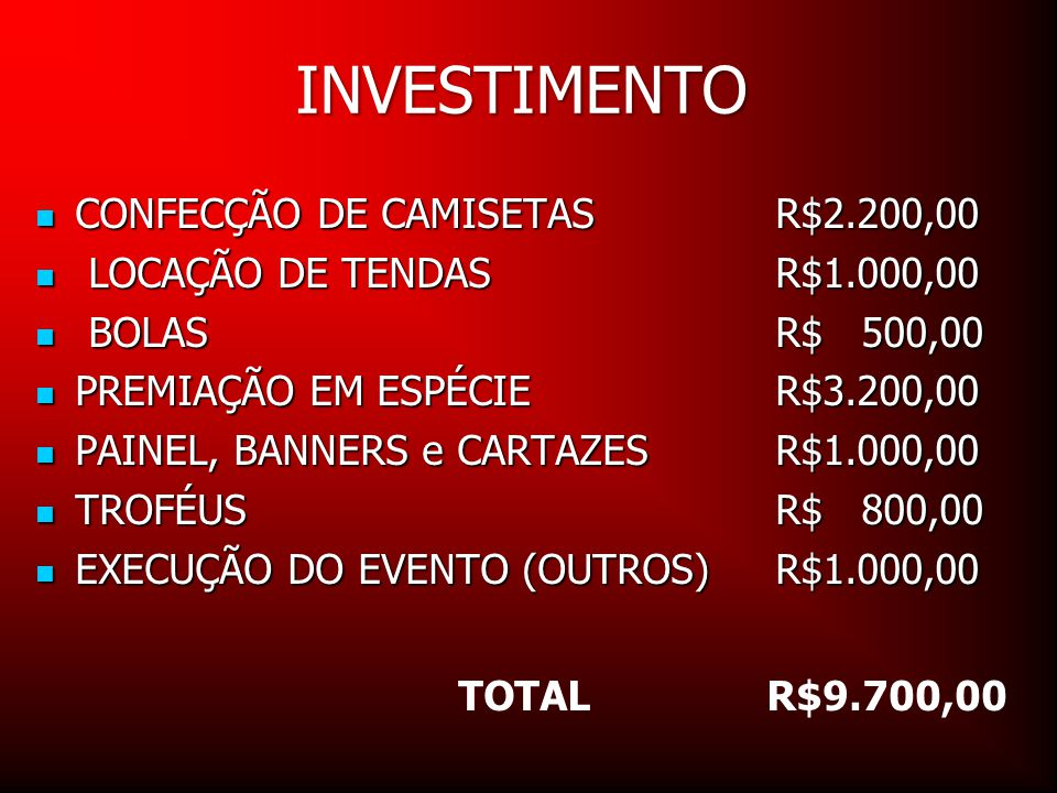 INVESTIMENTO CONFECÇÃO DE CAMISETAS R$2.200,00