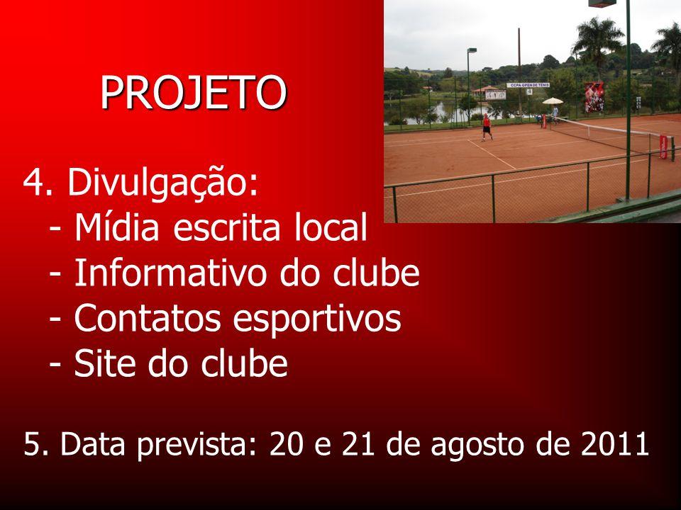 PROJETO 4. Divulgação: - Mídia escrita local - Informativo do clube - Contatos esportivos - Site do clube.