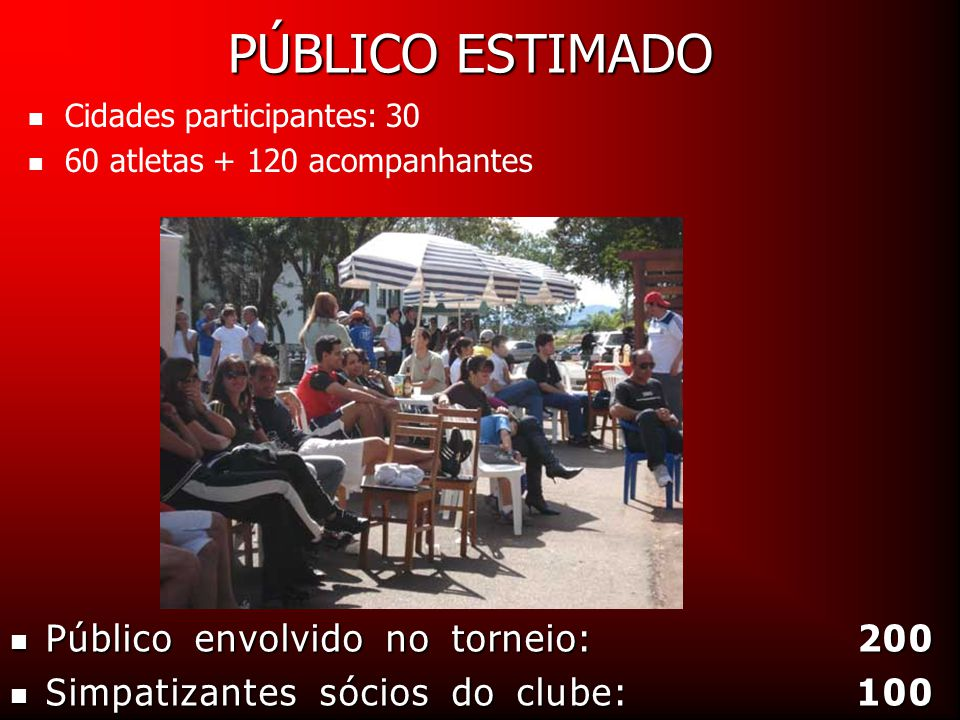 PÚBLICO ESTIMADO Público envolvido no torneio: 200