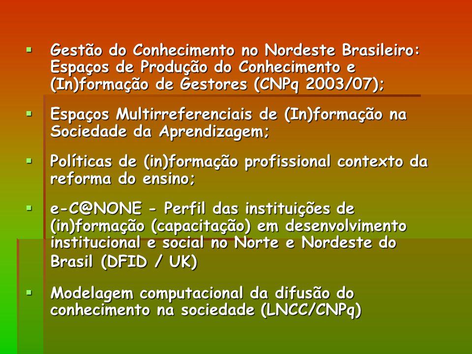Gestão do Conhecimento no Nordeste Brasileiro: Espaços de Produção do Conhecimento e (In)formação de Gestores (CNPq 2003/07);