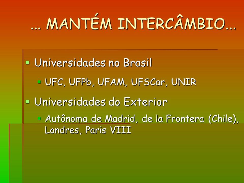 ... MANTÉM INTERCÂMBIO... Universidades no Brasil