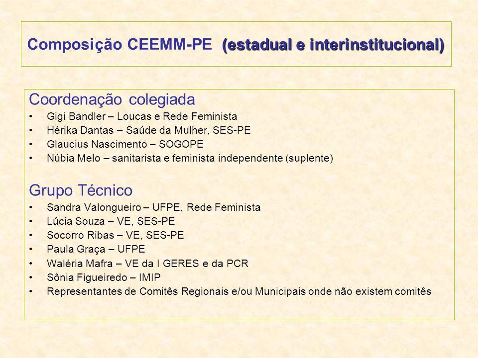 Composição CEEMM-PE (estadual e interinstitucional)