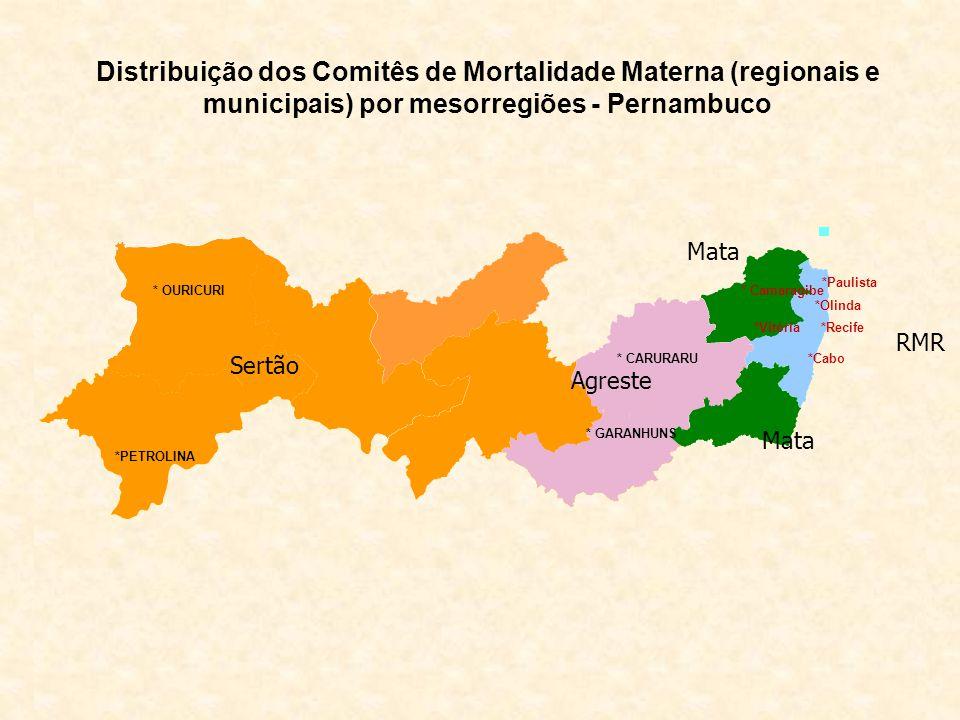 Distribuição dos Comitês de Mortalidade Materna (regionais e municipais) por mesorregiões - Pernambuco