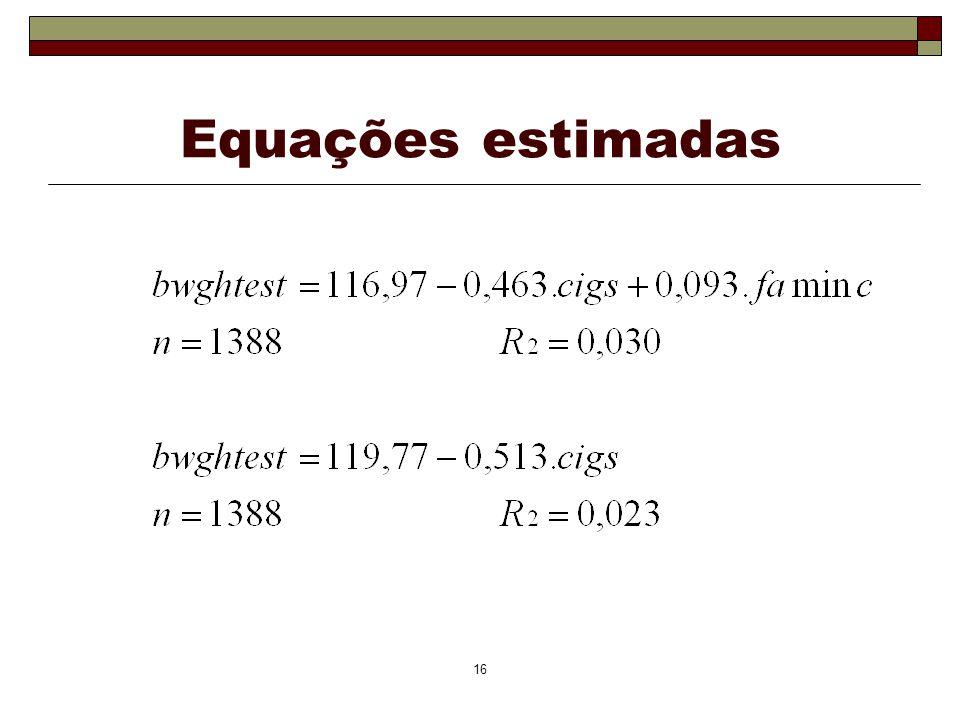 Equações estimadas