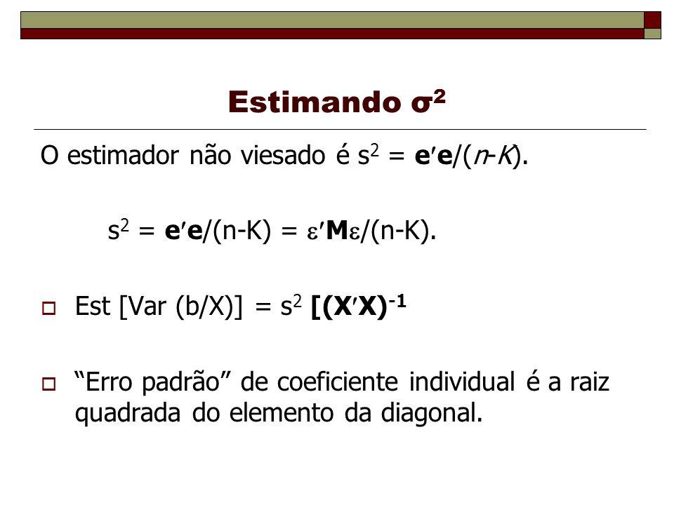 Estimando σ2 O estimador não viesado é s2 = ee/(n-K).