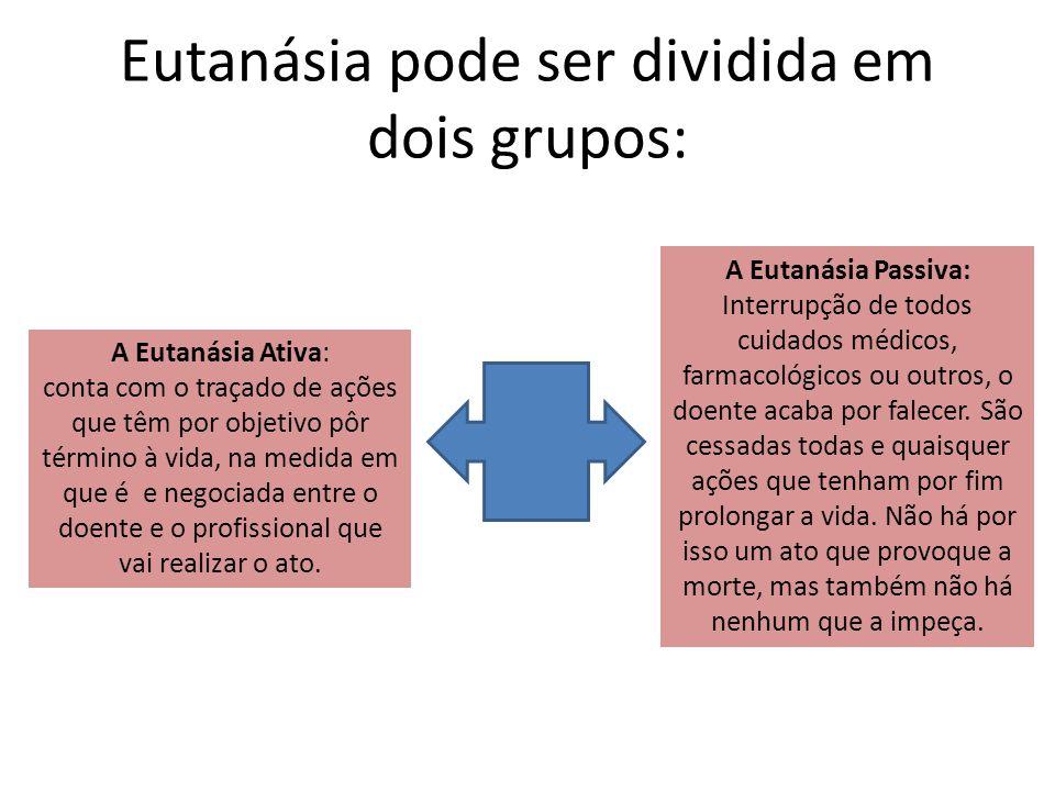 Eutanásia pode ser dividida em dois grupos: