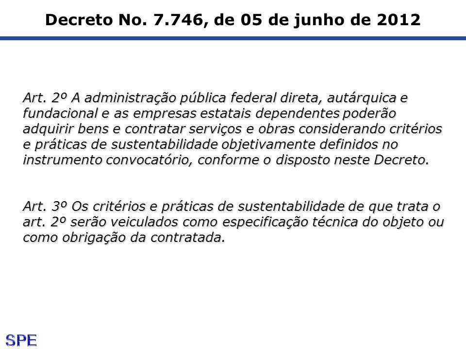 Decreto No. 7.746, de 05 de junho de 2012