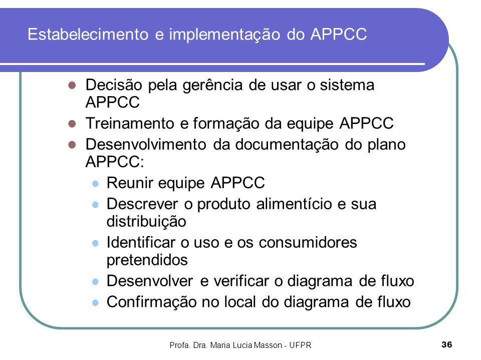 Estabelecimento e implementação do APPCC