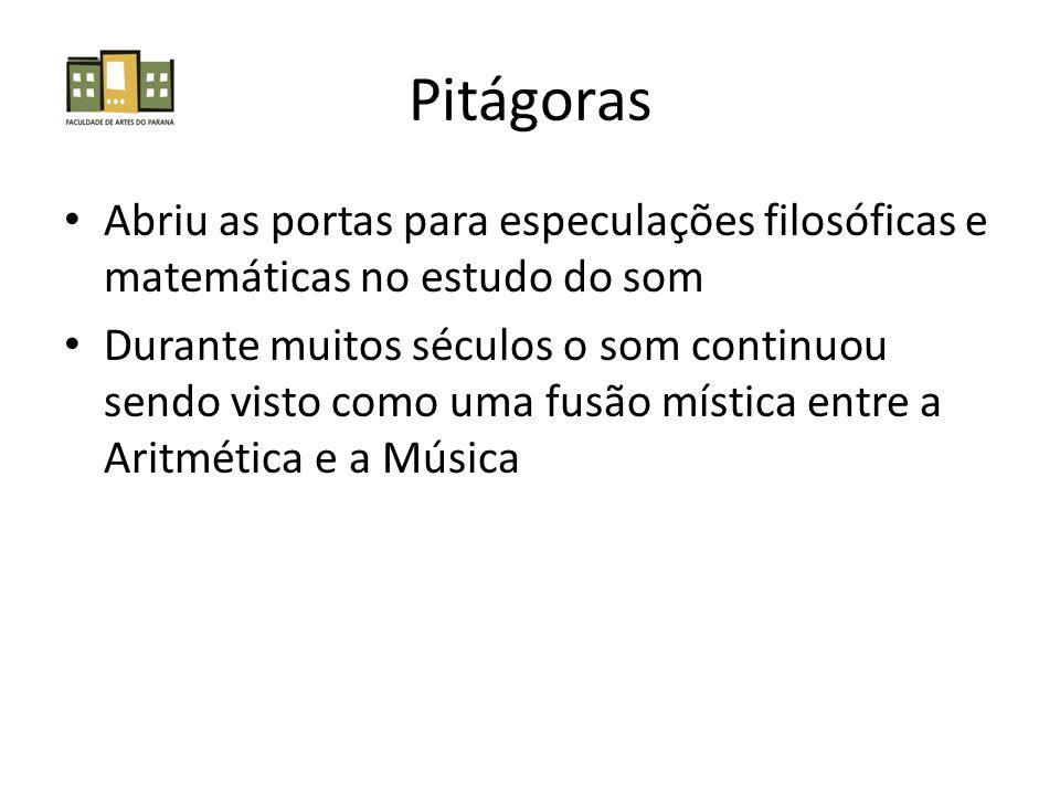 Pitágoras Abriu as portas para especulações filosóficas e matemáticas no estudo do som.