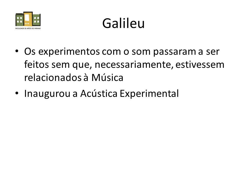 Galileu Os experimentos com o som passaram a ser feitos sem que, necessariamente, estivessem relacionados à Música.