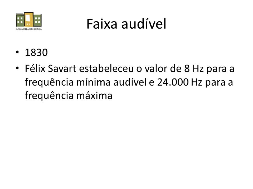 Faixa audível 1830.