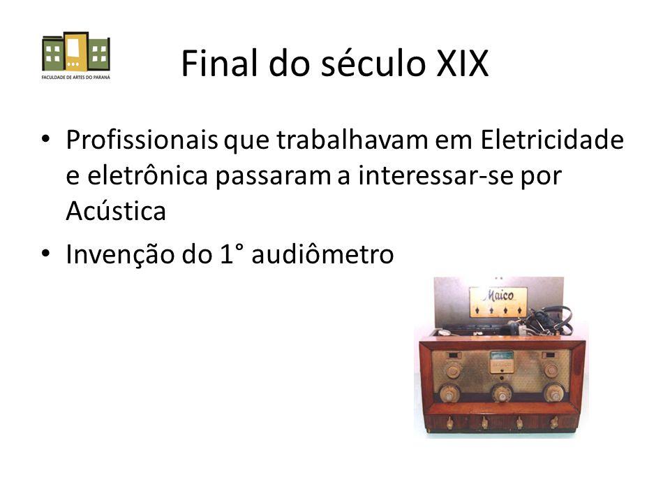 Final do século XIX Profissionais que trabalhavam em Eletricidade e eletrônica passaram a interessar-se por Acústica.