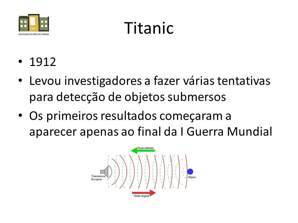 Titanic 1912. Levou investigadores a fazer várias tentativas para detecção de objetos submersos.