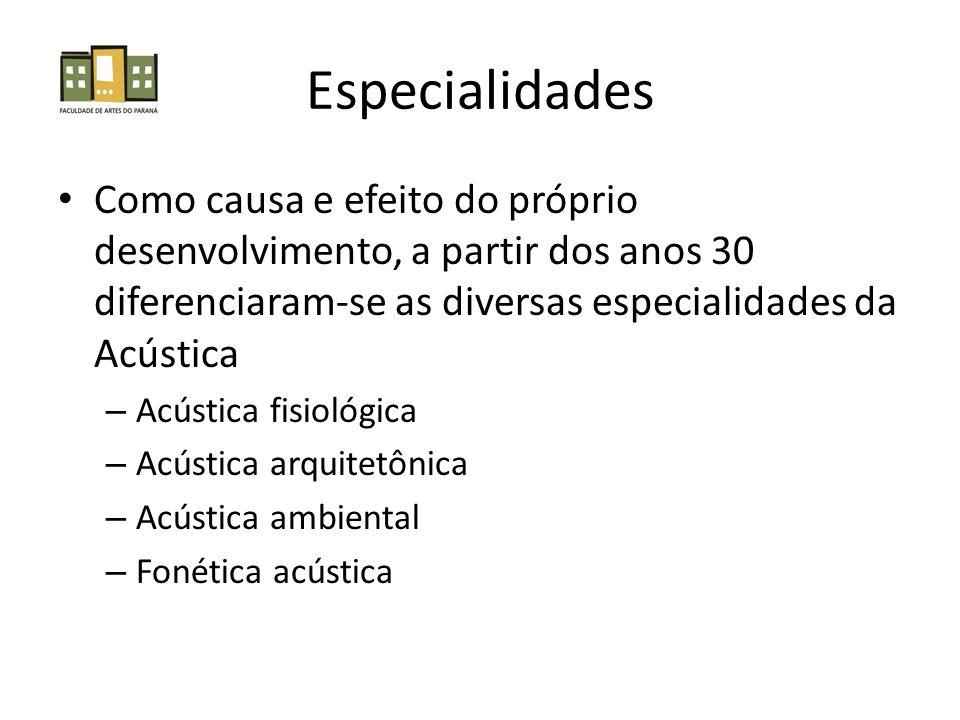 Especialidades Como causa e efeito do próprio desenvolvimento, a partir dos anos 30 diferenciaram-se as diversas especialidades da Acústica.