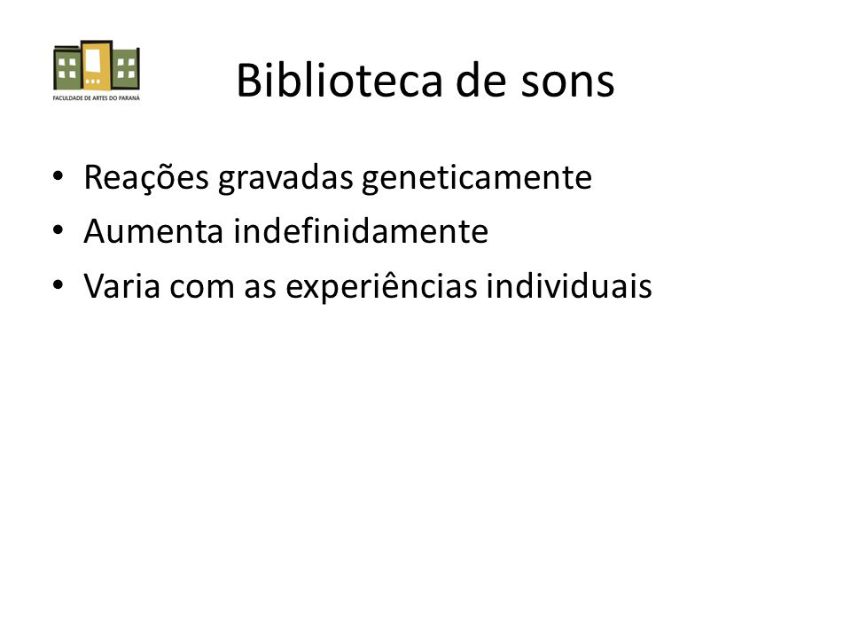 Biblioteca de sons Reações gravadas geneticamente