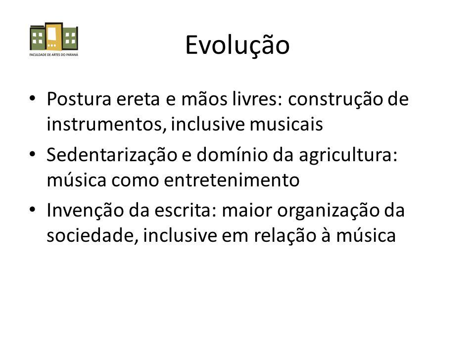 Evolução Postura ereta e mãos livres: construção de instrumentos, inclusive musicais.