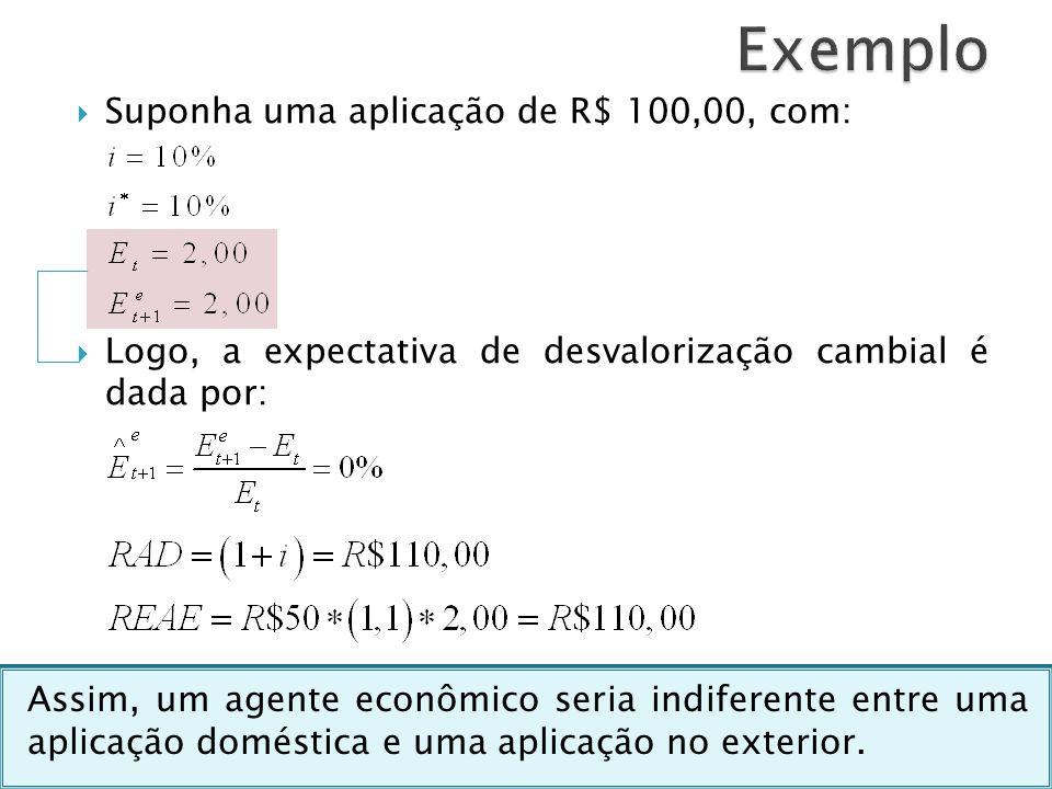 Exemplo Suponha uma aplicação de R$ 100,00, com: