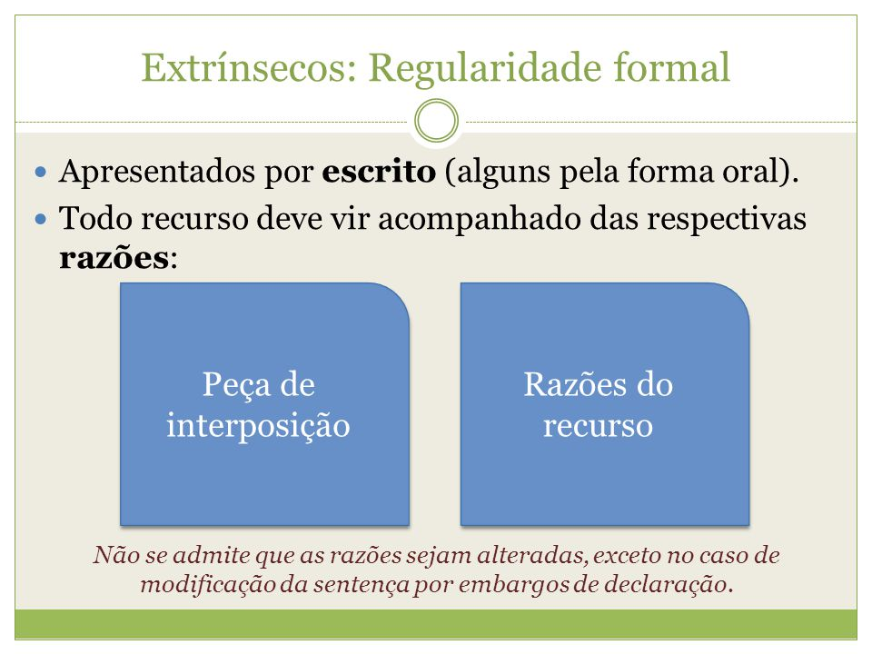 Extrínsecos: Regularidade formal