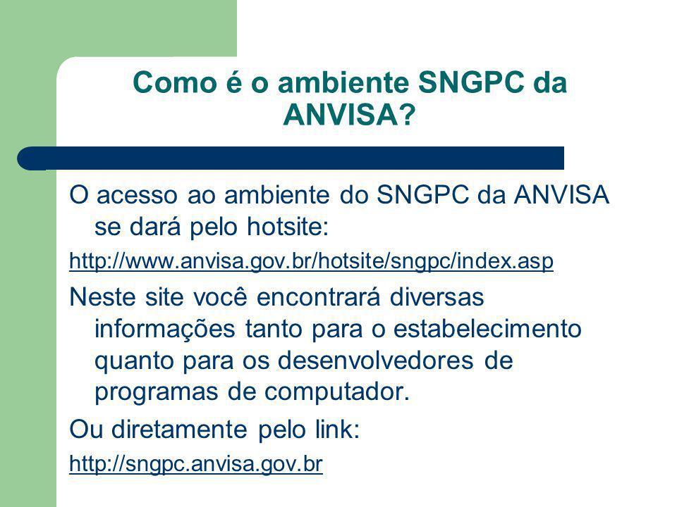 Como é o ambiente SNGPC da ANVISA