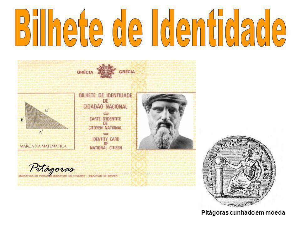 Bilhete de Identidade Pitágoras Pitágoras cunhado em moeda