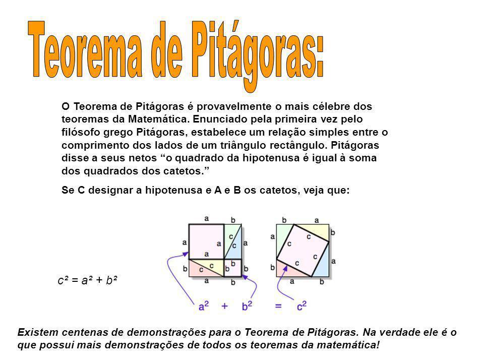 Teorema de Pitágoras: c² = a² + b²