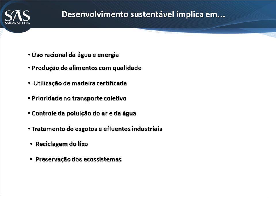Desenvolvimento sustentável implica em...