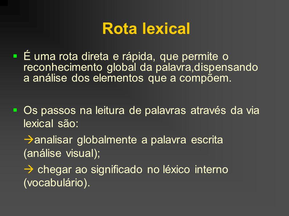 Rota lexical É uma rota direta e rápida, que permite o reconhecimento global da palavra,dispensando a análise dos elementos que a compõem.