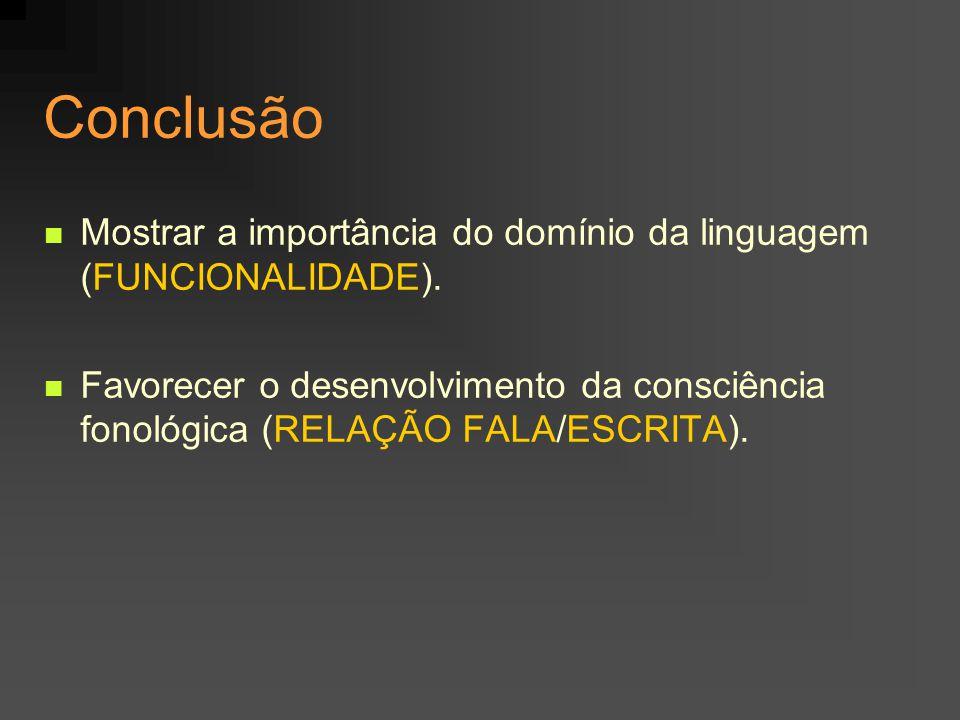 Conclusão Mostrar a importância do domínio da linguagem (FUNCIONALIDADE).