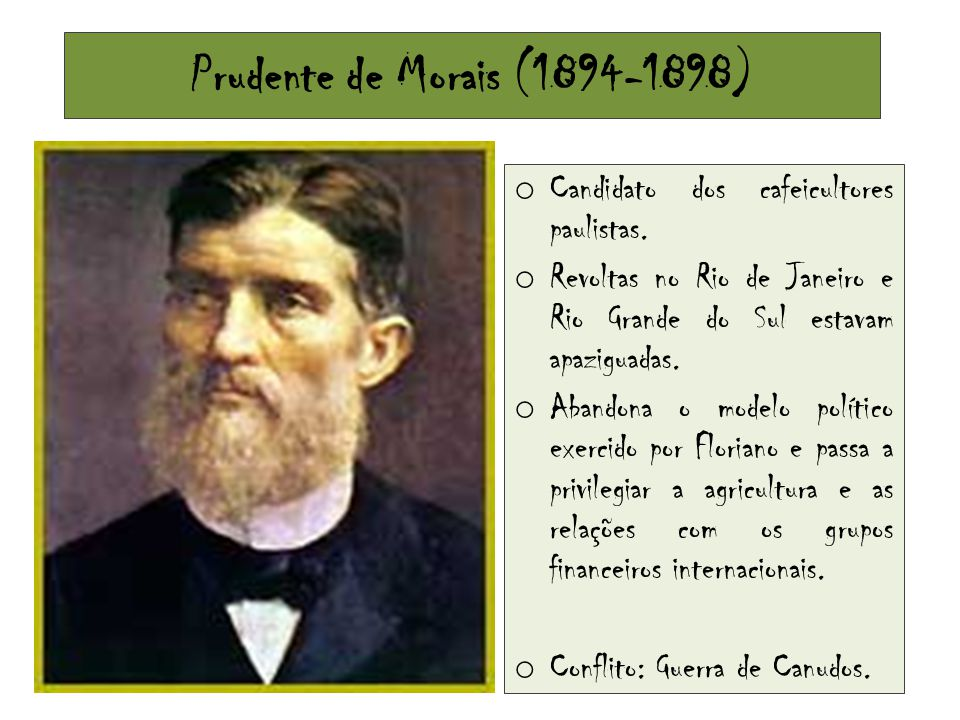 Prudente de Morais (1894-1898) Candidato dos cafeicultores paulistas.