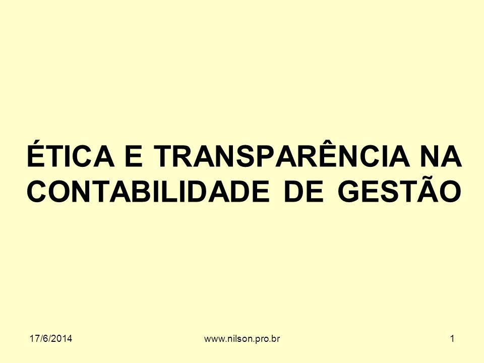 ÉTICA E TRANSPARÊNCIA NA CONTABILIDADE DE GESTÃO