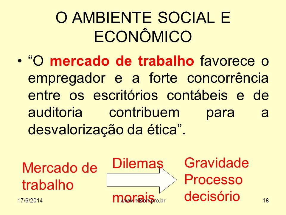 O AMBIENTE SOCIAL E ECONÔMICO