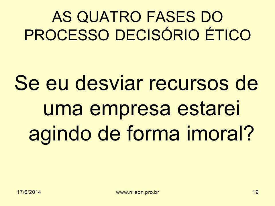 AS QUATRO FASES DO PROCESSO DECISÓRIO ÉTICO