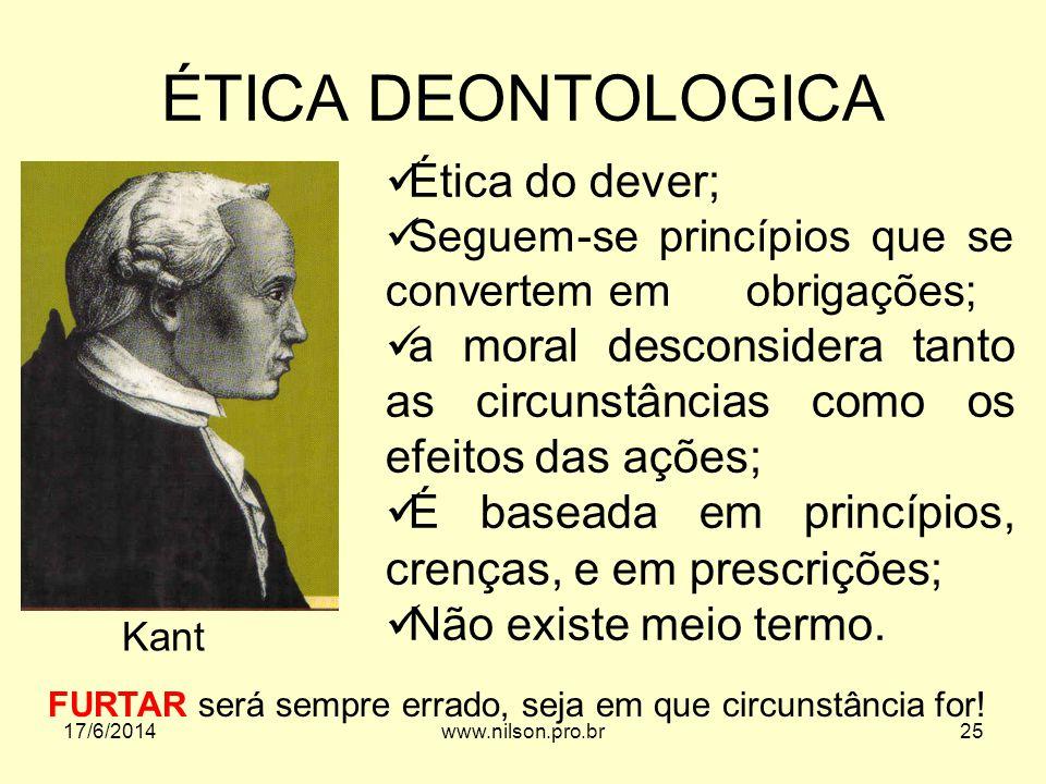 ÉTICA DEONTOLOGICA Ética do dever;
