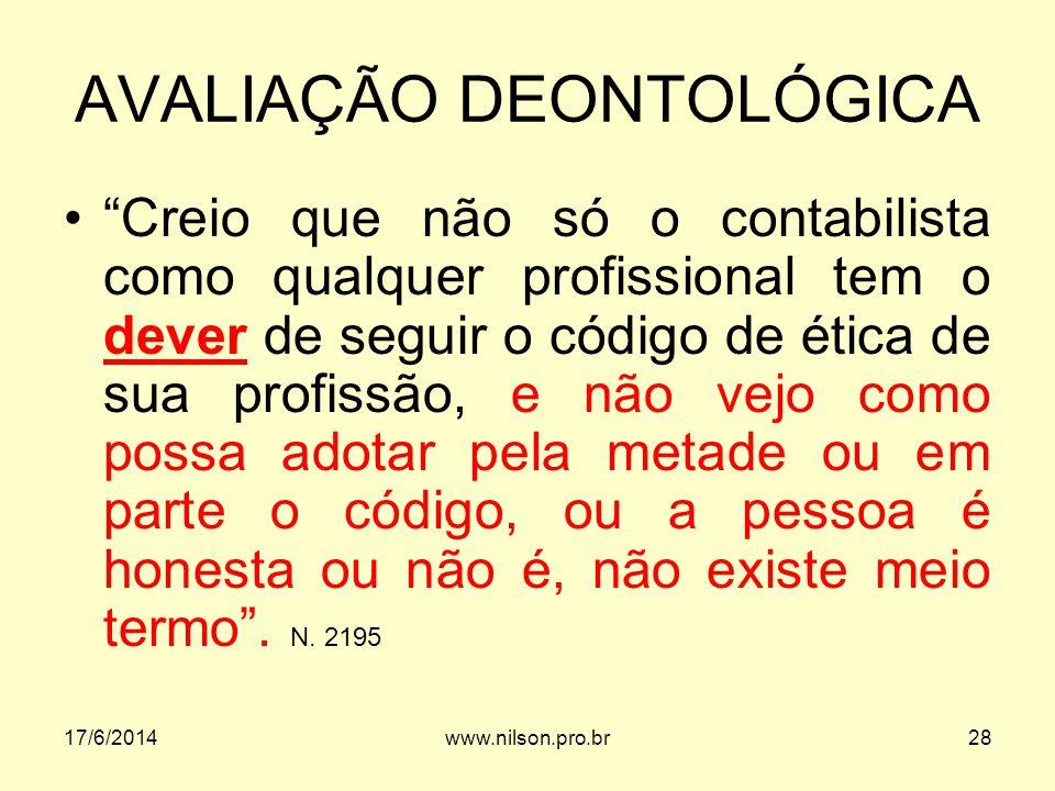 AVALIAÇÃO DEONTOLÓGICA