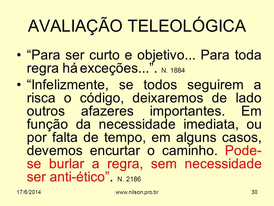 AVALIAÇÃO TELEOLÓGICA