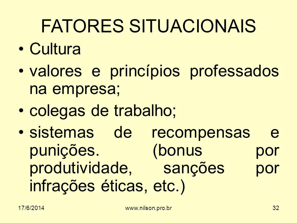 FATORES SITUACIONAIS Cultura