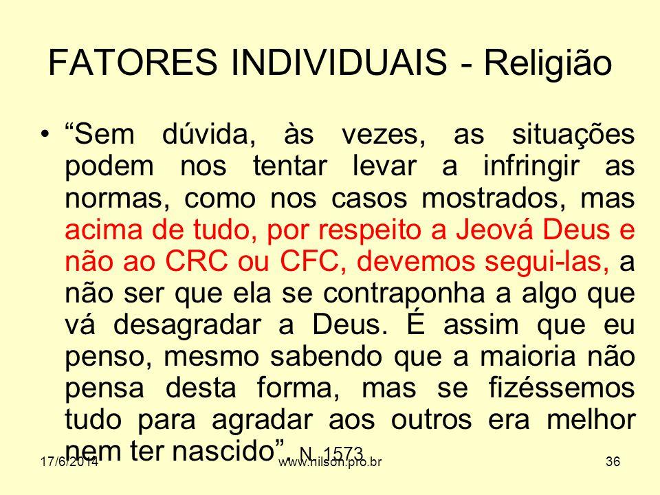 FATORES INDIVIDUAIS - Religião