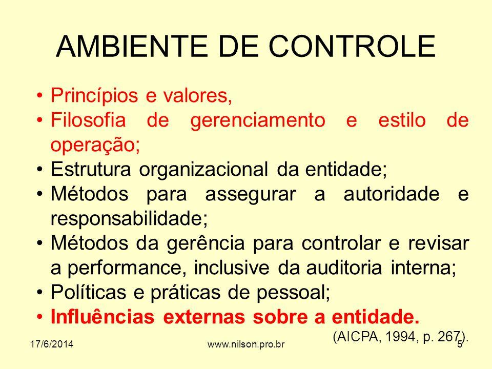 AMBIENTE DE CONTROLE Princípios e valores,