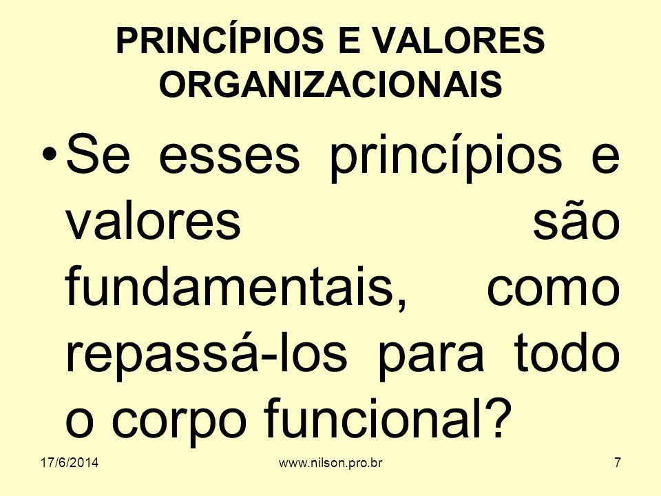 PRINCÍPIOS E VALORES ORGANIZACIONAIS