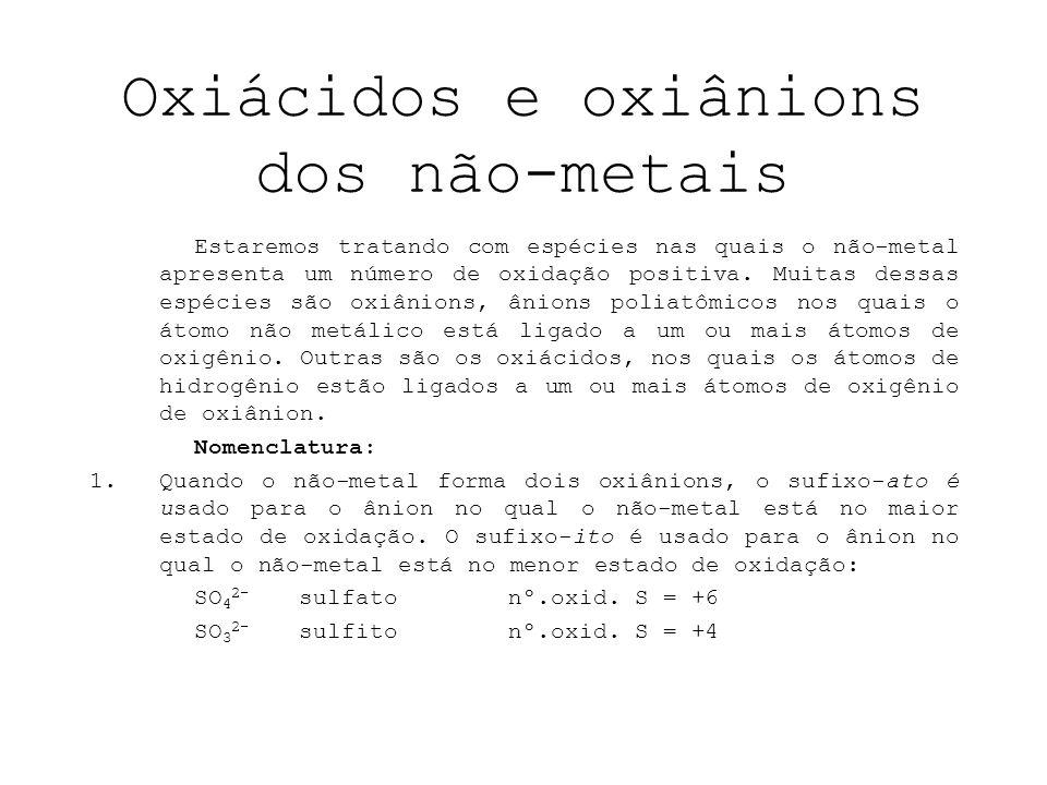 Oxiácidos e oxiânions dos não-metais