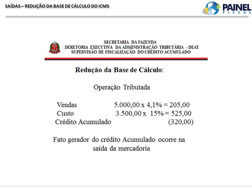 SAÍDAS – REDUÇÃO DA BASE DE CÁLCULO DO ICMS